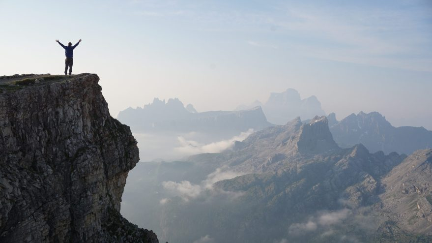 Man-Worshiping-From-a-Mountain-Top-Christian-Stock-Photo