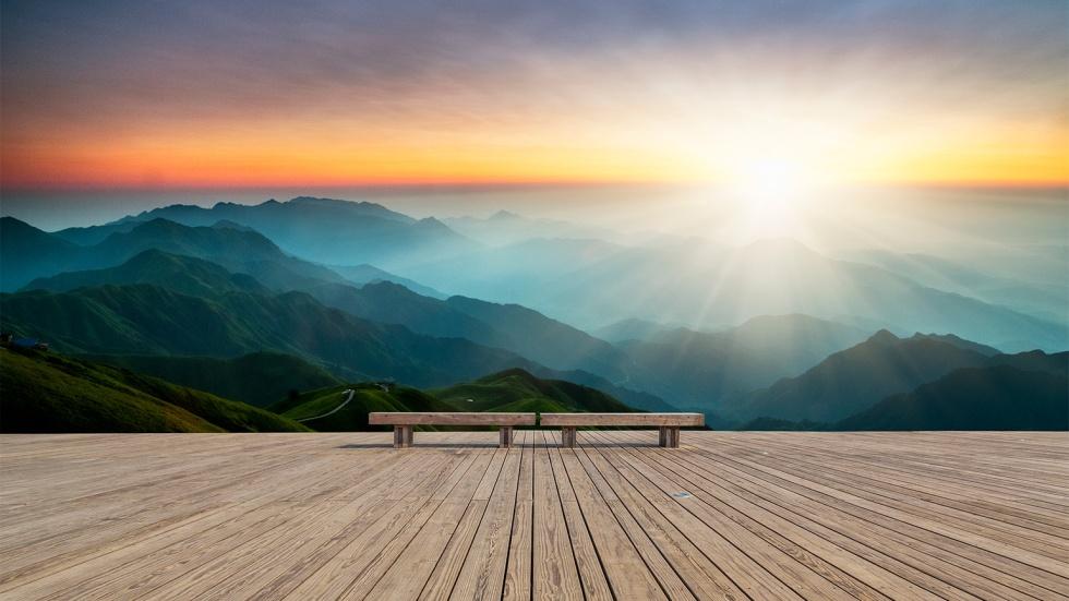bench_mountains_sunrise